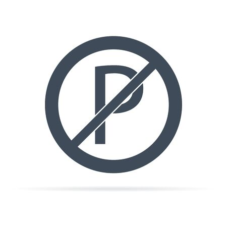 vector icon of road sign parking prohibited in flat style 向量圖像