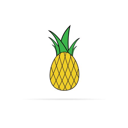 vector pineapple icon with big green leaves 向量圖像