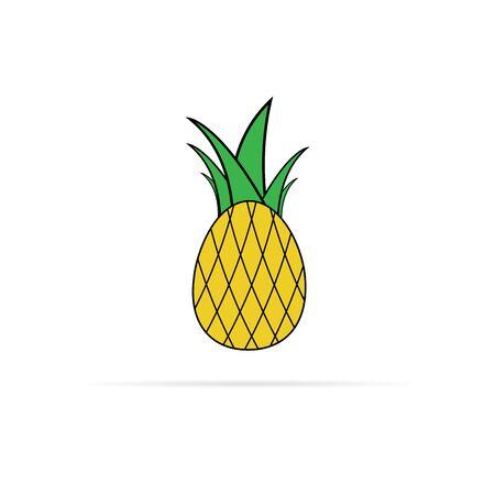 vector pineapple icon with big green leaves Illusztráció