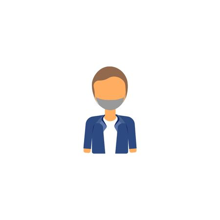 vector profile picture of man in blue jacket and mask