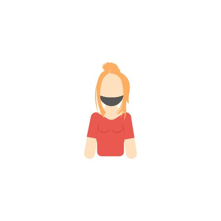 vector profile image of girl in pink t-shirt and mask