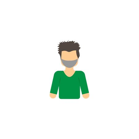 vector profile picture of guy in green sweater and mask  イラスト・ベクター素材