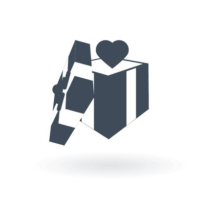 Gift box with a bow and heart icon vector simple