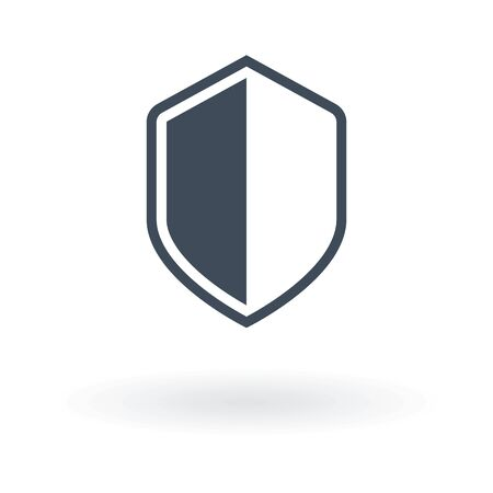 Shield icon in trendy flat style isolated