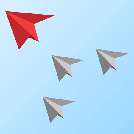 vector image of gray paper airplanes with red on the tip