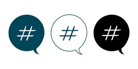 vector set of speaker balls icons with hashtags