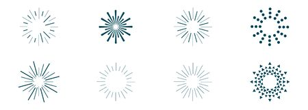 vector set of sunbeams icons of different shapes 向量圖像