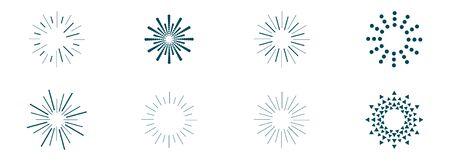 vector set of sunbeams icons of different shapes Illusztráció