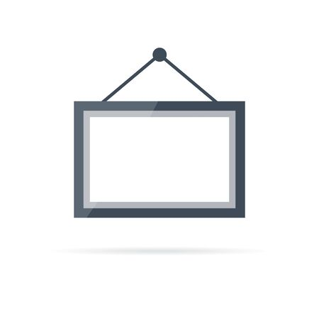 vector photo frame icon hung on the wall