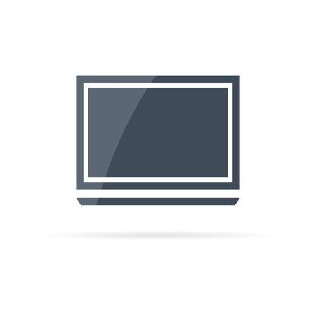 Flat vector icon of laptop in minimalist style