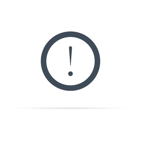 exclamation mark or warning vector icon with shadow