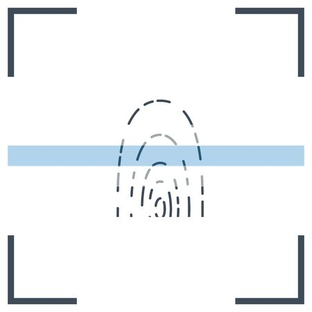 vector icon of fingerprint ID with active scanner 向量圖像