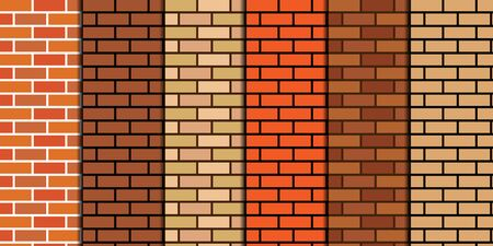 vector background of different brick walls with cement 向量圖像
