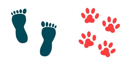 vector icon of footprints of barefoot man and pet