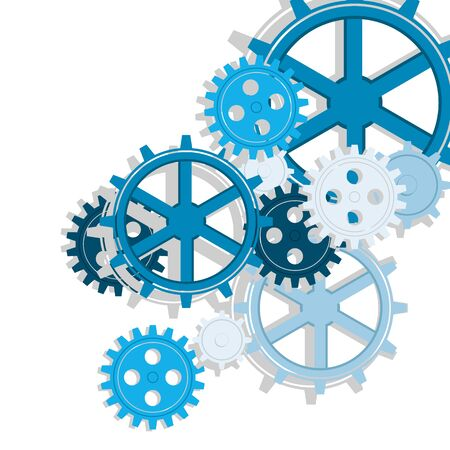 vector set of colorful gears of the big mechanism of work