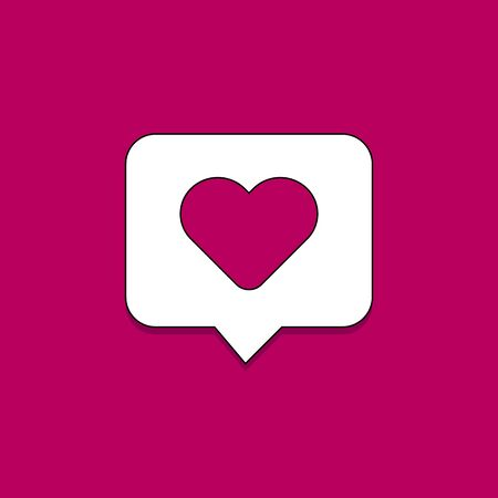 vector message icon with love in the form of heart