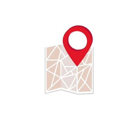 vector image of red gps label on city map  イラスト・ベクター素材