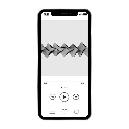 vector image of smartphone with example of music player