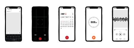 vector set of smartphones with examples of different firmware Ilustração