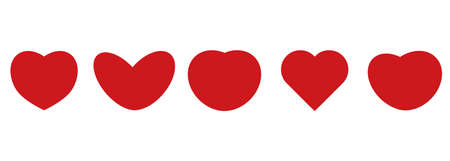 vector set of red hearts of different shapes