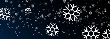 vector image of falling snowflakes on a dark night background