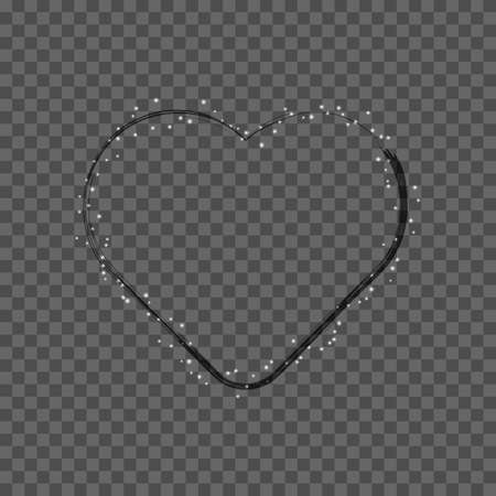 vector image of christmas heart with third grunge brush on transparent background Иллюстрация