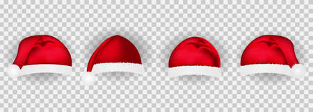 vector set of four realistic images of christmas hats