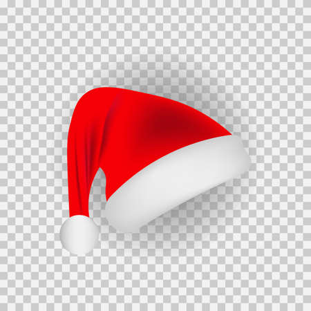 vector image of realistic santa hat with pompom to the left