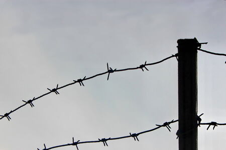 Barbed wire on a fence in prison photo