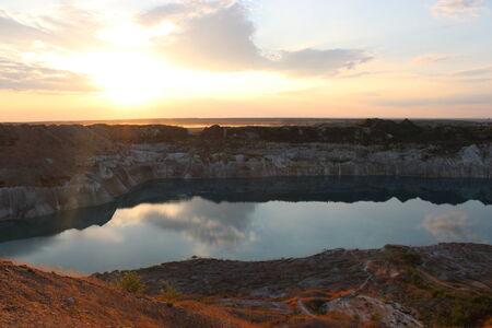 Mountain lake in summer evening  photo