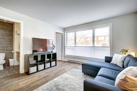Full set of interior furnished apartment in modern condominium with patio, balcony, terrace in Montreal, Quebec, Canada Standard-Bild