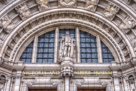 Front entrance of the Vicotria and Albert Museum in Sourh Kensington London, UK