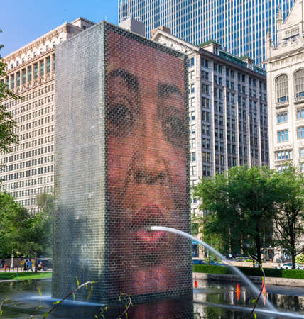 Chicago, US -July 18 2016. The Crown Fountain at Millenium Park Stock Photo