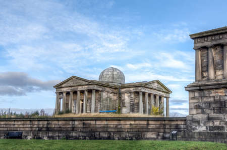 Calton Hill monument and observatory in Edinburgh,  Scotland, UK