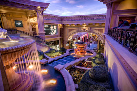 Las Vegas, US - April 28, 2018: The interior of the famous Forum shops in Ceasars palace hotel in Las Vegas