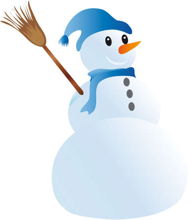 illustration depicts a snowman with a hat on his head