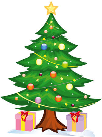 illustration shows a tree under which gifts are
