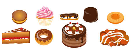 illustration shows the different types of cakes Illustration