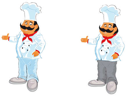 vector illustration shows a cook in a chefs hat