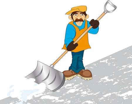 shovels:  illustration shows a man raking snow