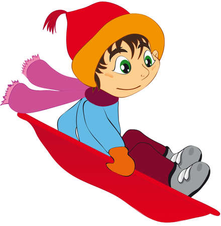 illustration shows a child sledging downhill