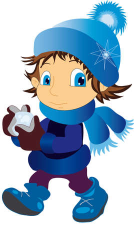 illustration shows a child wearing a cap throwing snowballs