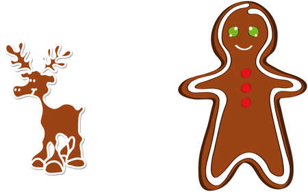 illustration shows a Christmas gingerbread reindeer Illustration