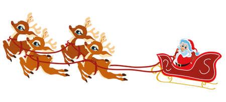 illustration shows a reindeer-drawn Christmas Santa Claus