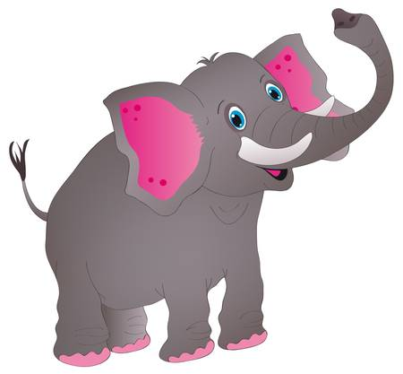 illustration shows a jolly elephant Illustration