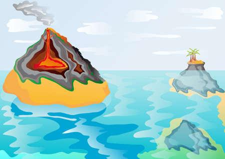 illustration 2D shows a volcanic eruption