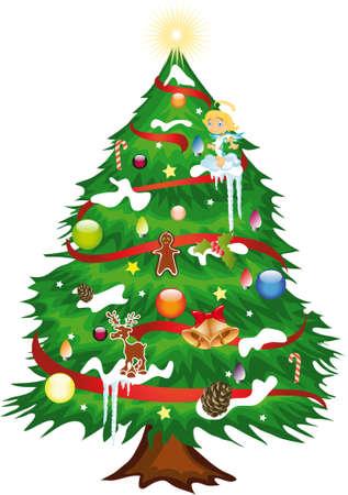 休日の装飾クリスマス ツリーの図します。