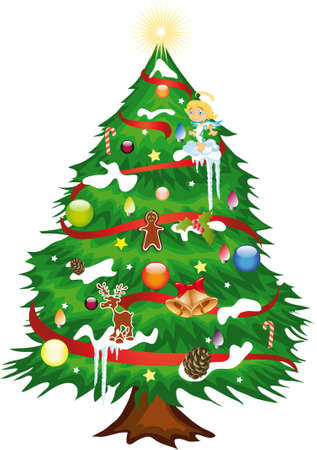 illustration shows a Christmas tree decorated for the holidays Illustration