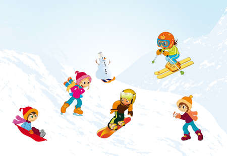 downhill skiing: children playing on the slopes