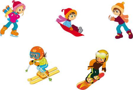 downhill skiing: children - winter